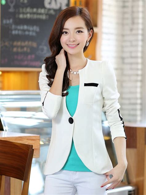 Style Korean Single Button Blazer korean style color block one button sleeve suit