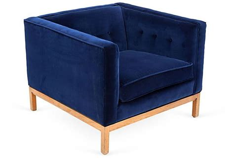 Square Chairs by Blue Velvet Midcentury Square Chair