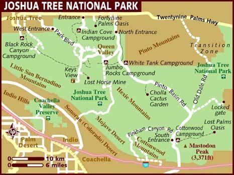 joshua tree park map map of joshua tree national park