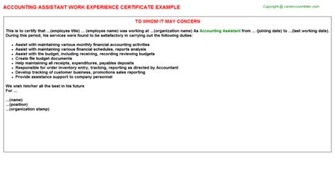 Experience Letter Audit Assistant Accounting Assistant Work Experience Letters