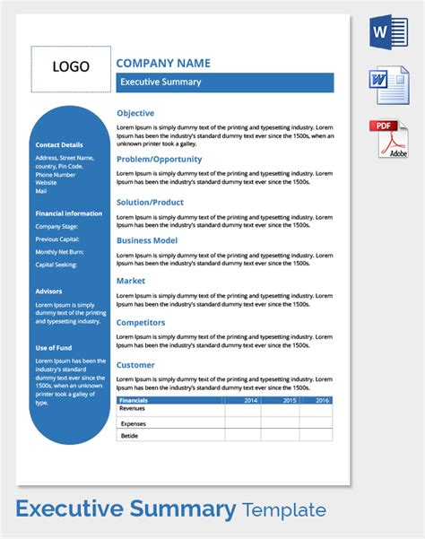executive summary templates executive summary template pinteres