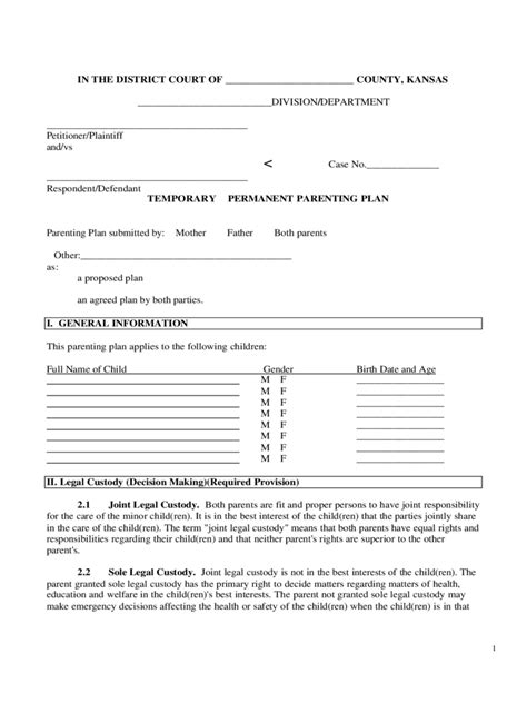 Joint Custody Agreement Form 6 Free Templates In Pdf Word Excel Download Custody Plan Template