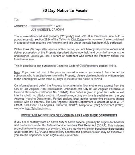 sle eviction notice due to sale of property printable sle 30 day notice to vacate template form