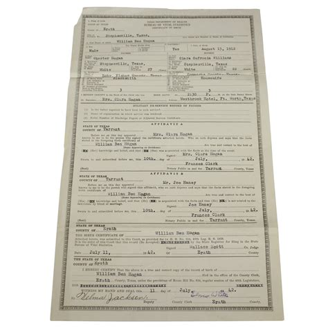 Department Of Birth Records Lot Detail Ben S Personal 1942 Dept Of