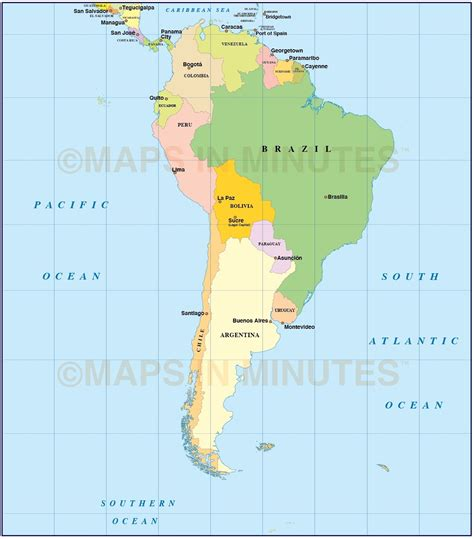 south america map countries and capitals capitals in south america