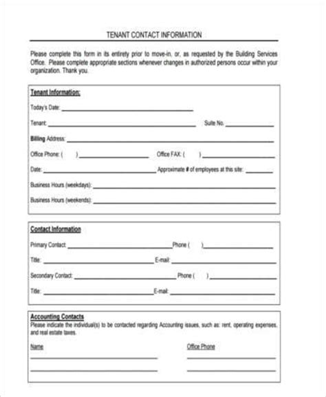 tenant information form sle tenant information forms 9 free documents in