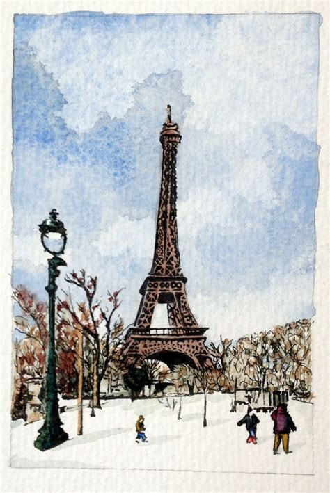 snow painting eiffel tower pen ink and watercolour snow