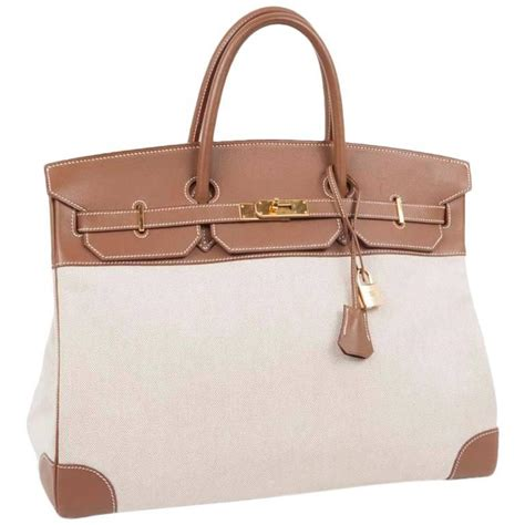 Hermes Birkin Canvas 1 hermes birkin 40 bag in ecru canvas and gold epsom calf