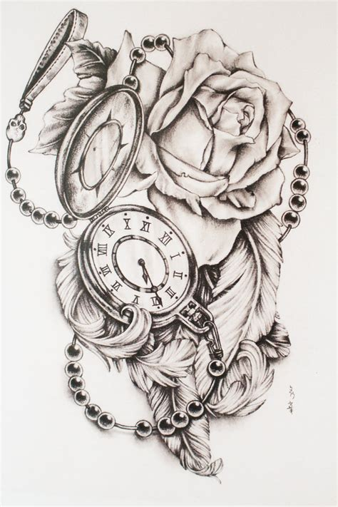 tattoo feather clock feathers and pocket watch by di polar tattoo idea