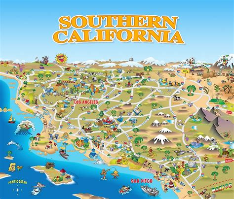 california tourist attractions map quot map of southern california quot travel mugs by dave