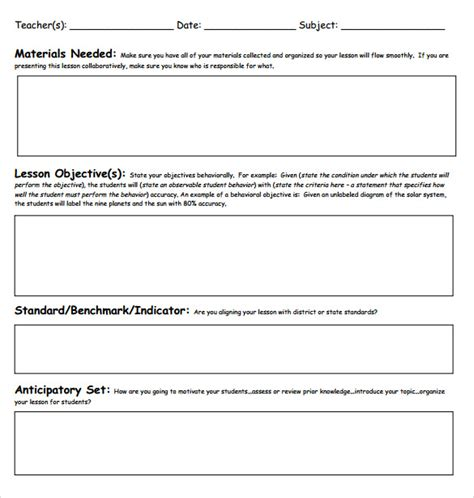 18 teacher lesson plan templates free sle exle