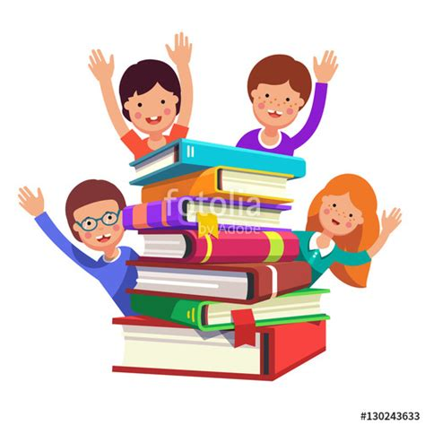 quot smart kids waving hands from the book pile quot stock image and royalty free vector files on