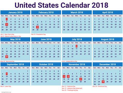 printable calendar 2018 united states printable calendar 2018 for united states pdf