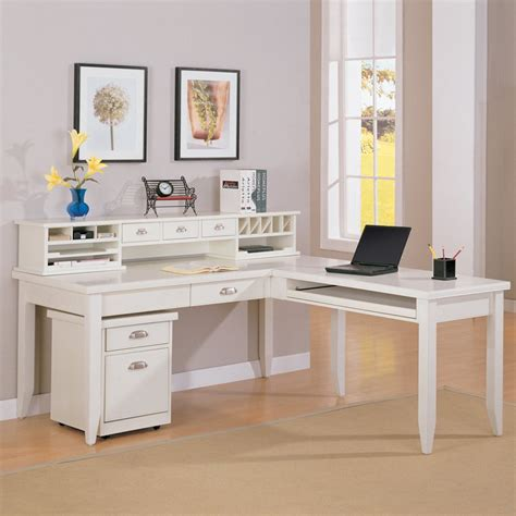 White L Shaped Desk With Hutch Kathy Ireland Home By Martin Tribeca Loft L Shaped Writing