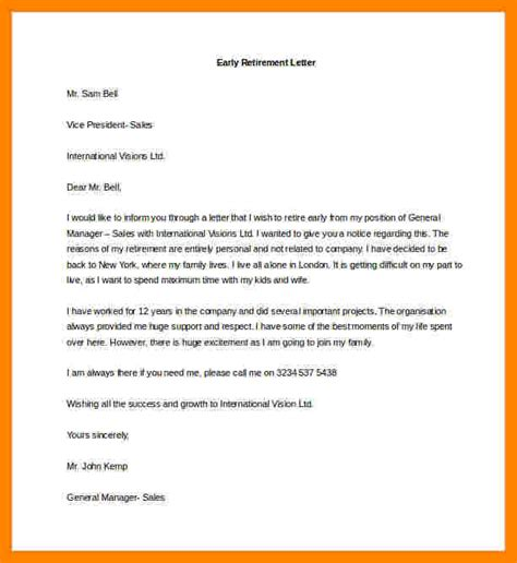 letter resignation retirement sample resignition