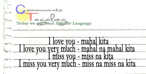 Or In Tagalog Communicate Tagalog Ct Lesson 4 How To Say I Or I Miss You In Tagalog