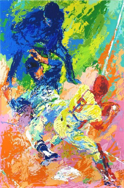 leroy neiman sliding home painting sliding home print