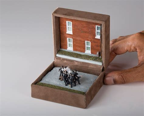 tiny in a box artist talwst turned these vintage ring boxes into dioramas