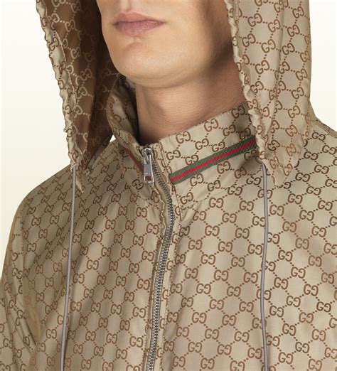 pattern kway kway meaning gucci gg pattern nylon jacket in brown for men lyst