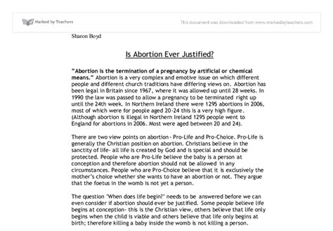 Abortion Ethics Essay by Re Abortion Essay