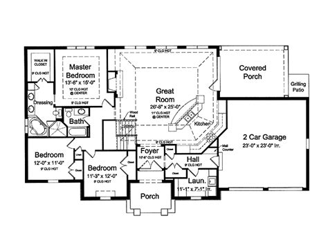 open layout floor plans blueprints for houses with open floor plans open floor plan hwbdo73933 country