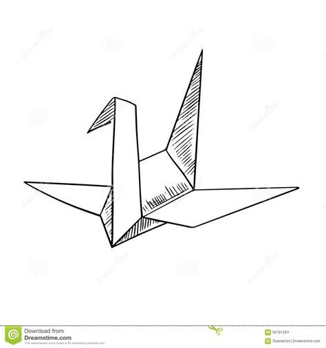 Origami Bird Drawing - origami crane paper bird sketch icon stock vector image