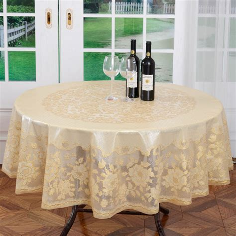 diameter 180cm gold wedding pvc table cloth embossing