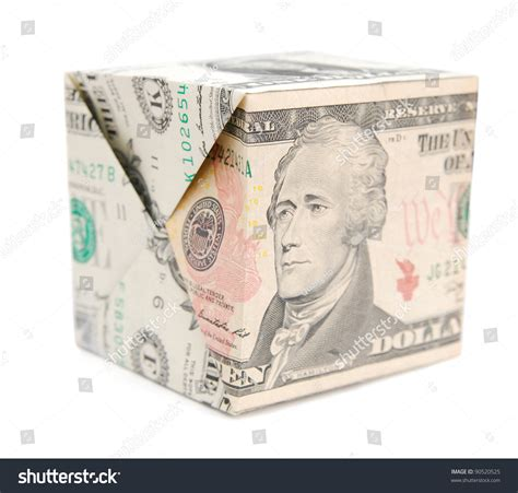 Money Origami Cube - a money origami cube in ten dollar stock photo 90520525