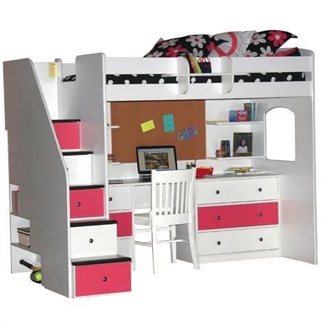 berg furniture utica lofts loft bed with 5 drawer