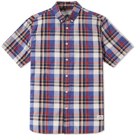 sleeve check shirt yege penfield nolan sleeve check shirt blue