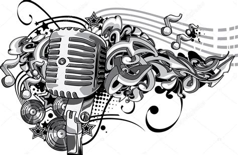 vintage microphone with graffiti stock vector 169 alex