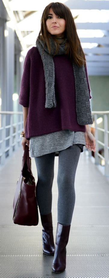 grey patterned leggings outfit burgundy and grey outfit leggings tunic and sweater