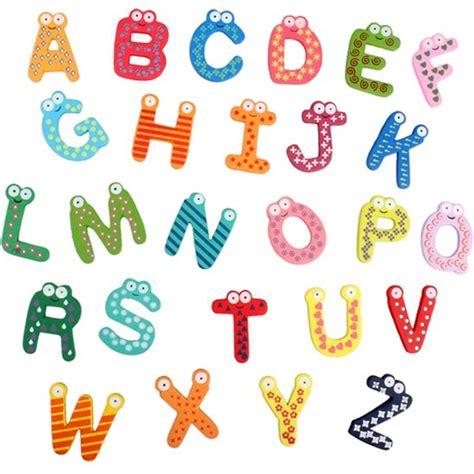 Huruf Abjad Magnetig bol alfabet koelkastmagneten vrolijke letters set houten magneet plakletters voor koelkast