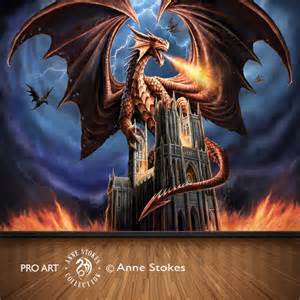 Door Wall Mural anne stokes dragon fury dgfasw001