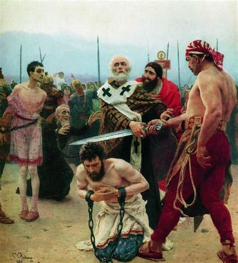 Saint nicholas saves three innocents from death oil painting by ilya