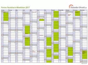 Kalender 2018 Mit Ferien Nrw Ferien Nordrhein Westfalen 2017 Ferienkalender Zum