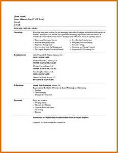 sle of a simple resume basic cv templates retailreference letters words