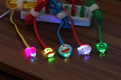 Kabel Data Nyala Doraemon Iphone 5 jual kabel data karakter kartun micro usb led nyala