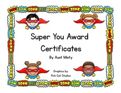 free super hero theme award certificates by aunt minty s