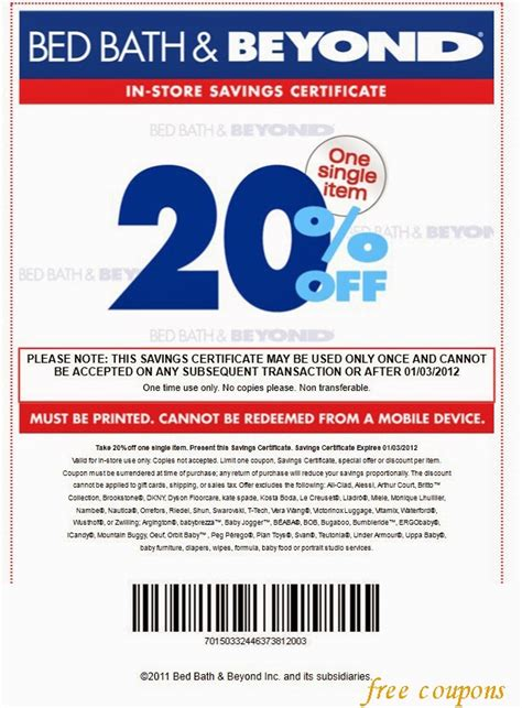 20 Coupon Bed Bath Beyond by Bed Bath And Beyond Coupons April 2014