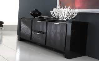 Buffet Table Modern Black Finish Modern Buffet With Inlays