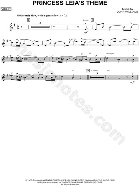 printable star wars theme song violin quot princess leia s theme violin quot from star wars sheet