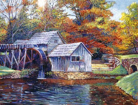 Large Cottage House Plans falling water mill house painting by david lloyd glover