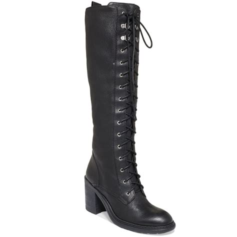 west boots nine west lory laceup combat boots in black lyst