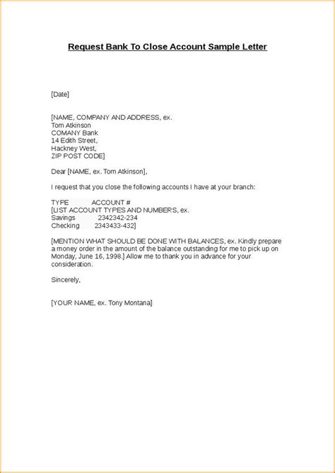 closing account letter closing account letter template letter of recommendation