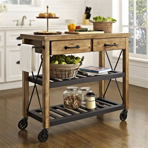 kitchen cart and island shop crosley furniture brown rustic kitchen cart at lowes com