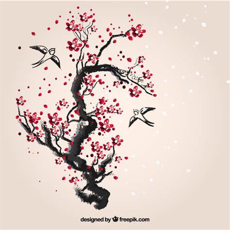 cherry tree vector painted cherry tree vector free