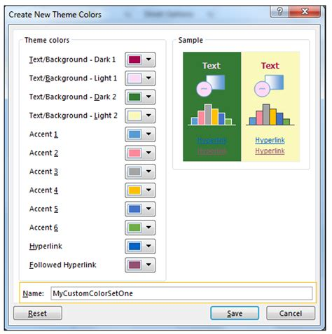 excel themes effects how to modify theme color font effects create custom