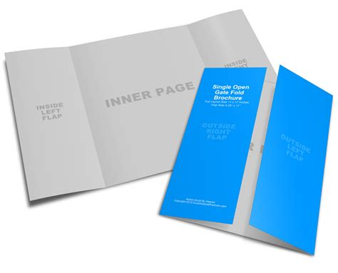 Template For 11 X 17 4 Fold Card by 11x17 Gate Fold Brochure Mockup Cover Actions Premium