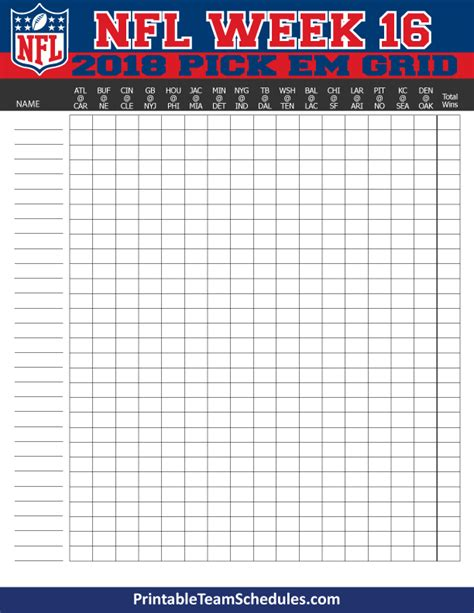 printable nfl schedule for week 2 nfl weekly pick em grid week 16